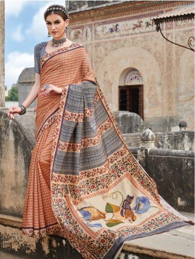Kyathi Tussar Georgette Printed Multicolor Saree