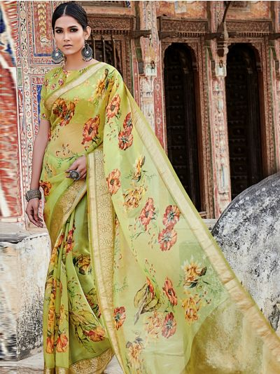 Kyathi Organza Silk Digital Printed With Zari Border Saree-MAD3656820