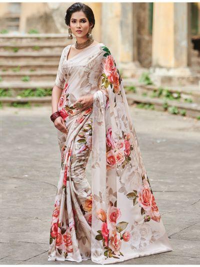 Sahithyam Satin Georgette Digital Printed Fancy Saree