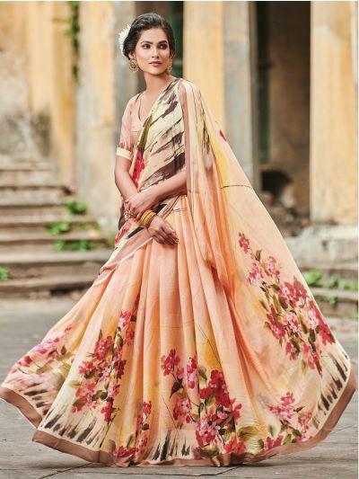 Sahithyam Crepe Digital Printed Fancy Saree