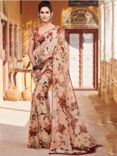 Sahithyam Pure Chiffon Digital Printed Fancy Saree