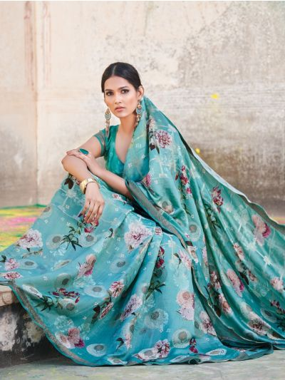 Sahithyam Benarsi Katan Silk Digital Printed Fancy Saree