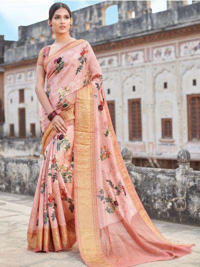Sahithyam Chiniya Silk Digital Printed With Zari Border Fancy Saree