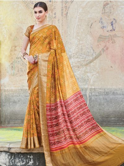 Kyathi Chiniya Silk Digital Printed With Zari Border Fancy Saree