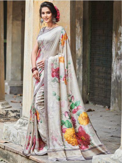 Sahithyam Katan Silk Stripes Printed Fancy Saree