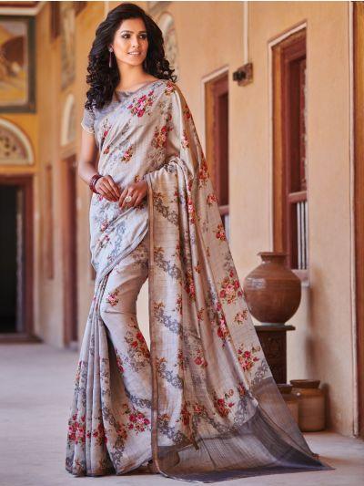 Sahithyam Chiniya Silk Small Checks Printed Fancy Saree