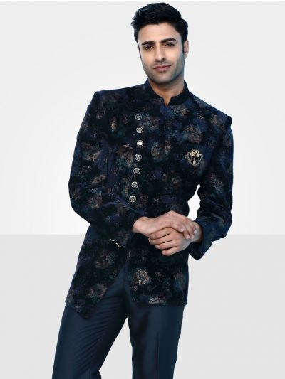 Men's Imported Jodhpuri Blue Suit - JS91236
