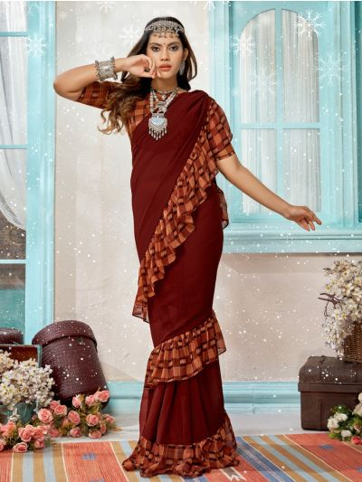 Women's Fancy Ruffle Marble Georgette Saree - MIA2754825