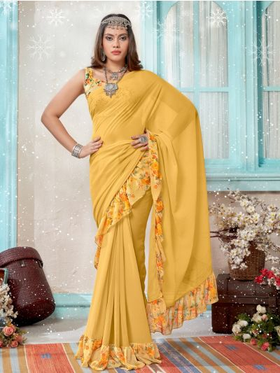 Women's Fancy Ruffle Marble Georgette Saree - MIA2754827