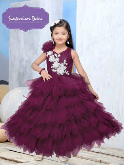 Sivasankari Babu Exclusive Girls Net Frock With Patch Work - MGD0957197