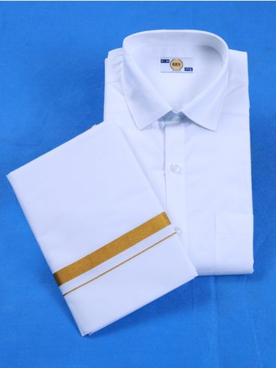 KKV Cotton White Cotton Dothi with Cotton Shirt  Set - KKVHS001