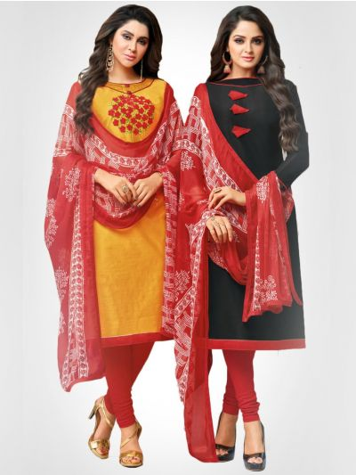Double Tops Chanderi and Soft Cotton Dress Material