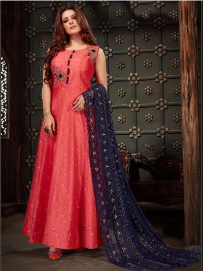 Kyathi Chendari Semi Silk Readymade Anarkali Salwar Kameez -H005
