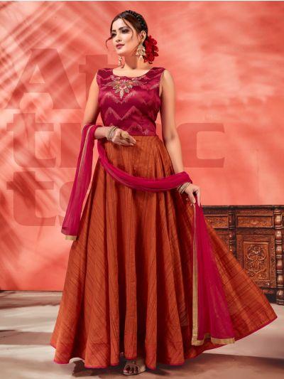 Kyathi Chendari Semi Silk Readymade Anarkali Salwar Kameez -J04
