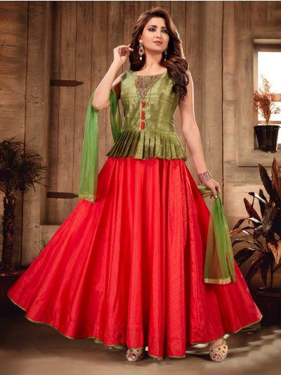 Kyathi Semi Silk Readymade Anarkali Salwar Kameez - MFB6270976