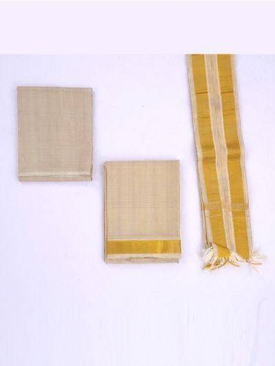 KKV Wedding Pure Silk Shirt & Dhoti Material Set-LBD7306792