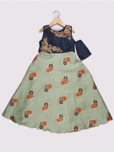 Girls Pista Silk Embroidery Long Frock