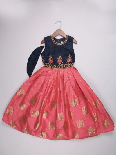 Girls Silk Jacquard Long Frock - Blue with Rose