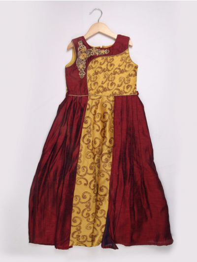 Girls Silk Jacquard Long Frock - Mustard with Maroon