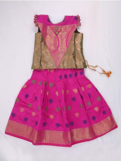 Chanderi Jacquard Pattu Pavadai - LFB4722650