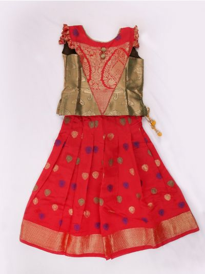 Chanderi Jacquard Pattu Pavadai - 4 Years - LFB4722671
