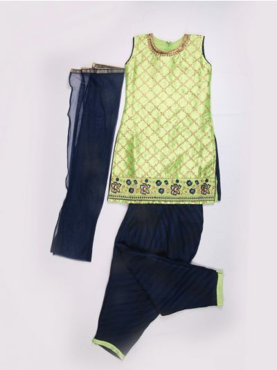 Girls Kurti & Patiala - Pista Green with Blue