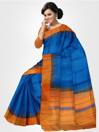 Estrila Kanchipuram Blue Silk Saree