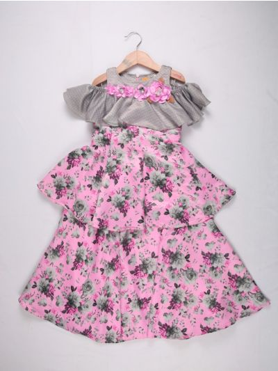 Girls Imported Long Frock - Rose