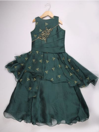 Girls Imported Long Frock - Dark Green