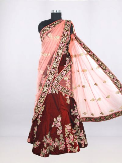 Embroidered Net Lehenga-Style Embellished Saree - Multi - LGB9353900