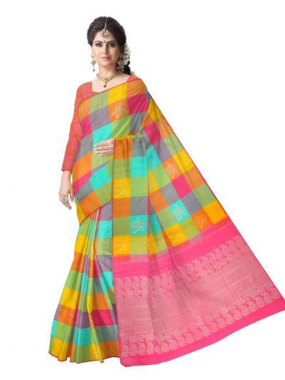 Estrila Kanchipuram Multicolor Silk Saree