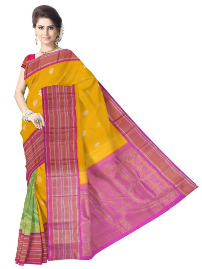 Vivaha Wedding Partly Design Yellow Silk Saree