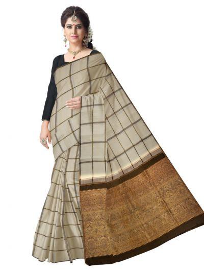 Estrila Kanchipuram OffWhite Silk Saree