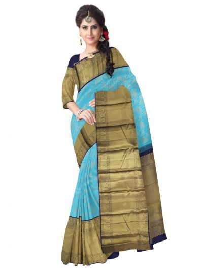Vivaha Wedding Blue Silk Saree