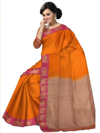 Orange Art Silk Saree