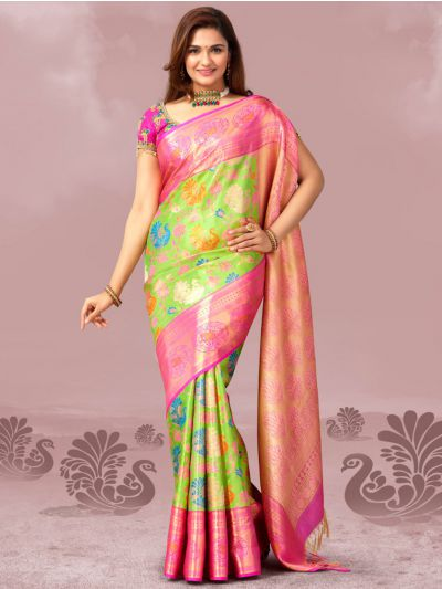 Vivaha Goddess Green Color Pure Silk Saree