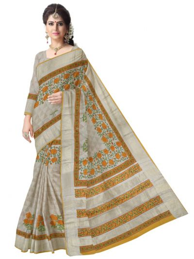 Kyathi Printed Tussar Silk Saree