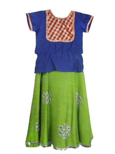 Girls Ready Made Art Silk Pavadai Set - TUPPP03