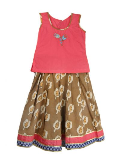 Girls Ready Made Art Silk Pavadai Set - TUPPP06