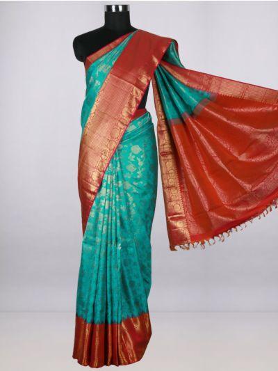 Vivaha  Pure Kanchipuram Handloom Silk Saree - Cyan-LIB4970773