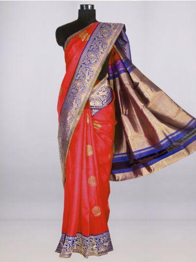 Vivaha  Pure Kanchipuram Handloom Silk Saree - Red-LJB84737200