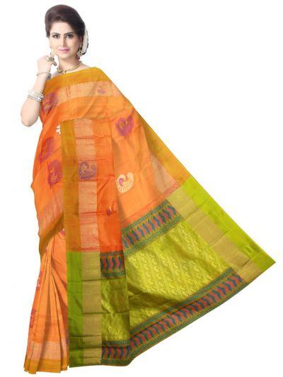 Pure Soft Silk Orange Saree