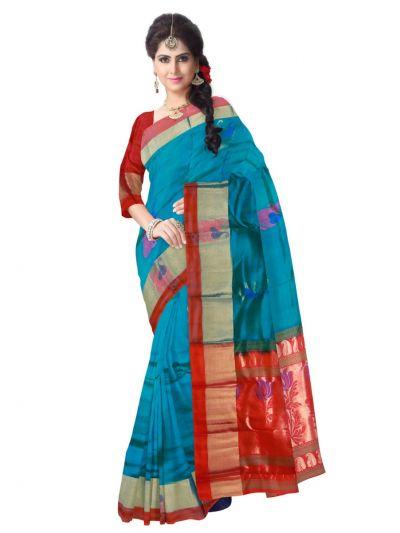 Pure Soft Silk Blue Saree