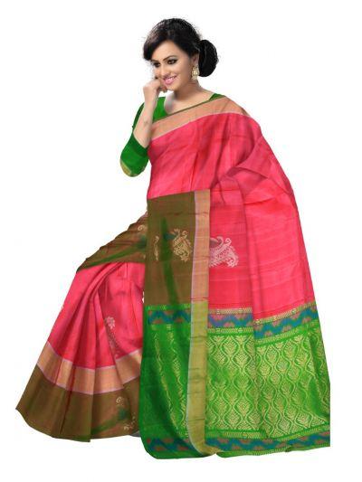 Pure Soft Silk Pink Saree