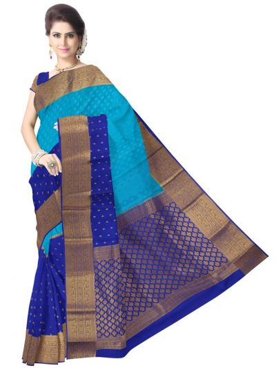 Kyathi Mysore Silk Blue Saree