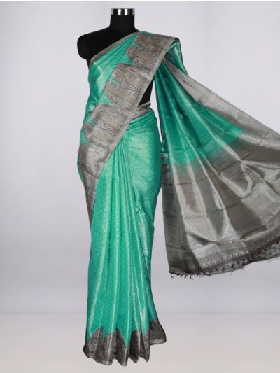Vivaha  Pure Kanchipuram Handloom Silk Saree - Cyan-LJB8473201