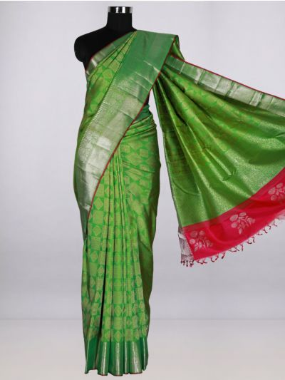 Vivaha  Pure Kanchipuram Handloom Silk Saree - Green- LJB8473202