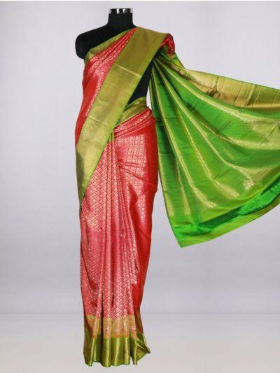 Vivaha  Pure Kanchipuram Handloom Silk Saree - Red-LJB8473204