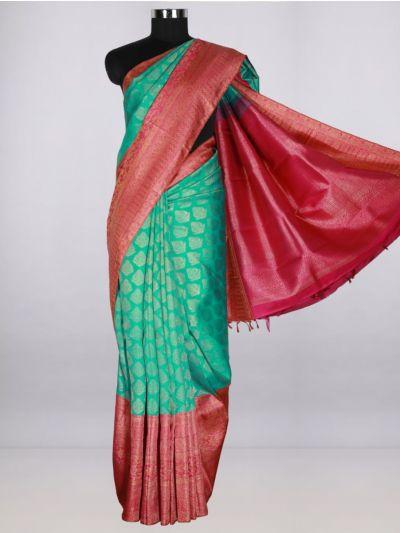 Vivaha  Pure Kanchipuram Handloom Silk Saree - Cyan- LJB8473704