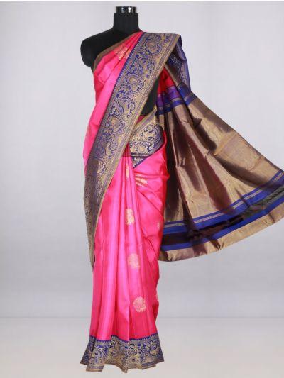 Vivaha  Pure Kanchipuram Handloom Silk Saree - Pink-LJB8473710